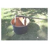 Copper apple butter kettle & stick