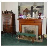 Fireplace view w/ highboy & mantle lusters