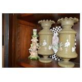 Bristol vases & milk glass