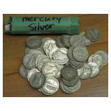 50 MERCURY DIMES, SILVER