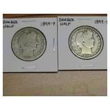 2 - 1899 BARBER HALF DOLLARS