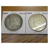 1922-D, 1922-S PEACE DOLLARS