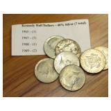 7 - KENNEDY CLAD HALF DOLLARS, 1965 - 1969
