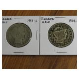 2 - 1903 BARBER HALF DOLLARS, SILVER