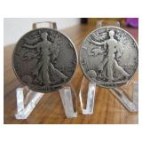 2 - 1944 WALKING LIBERTY SILVER HALF DOLLARS