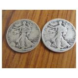 2 - 1942 WALKING LIBERTY HALF DOLLARS