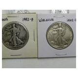 1942, 1943 WALKING LIBERTY HALF DOLLARS