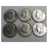 6-BICENTENNIAL (1776-1976) KENNEDY HALF DOLLARS