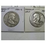 2 - 1959 BEN FRANKLIN HALF DOLLARS