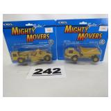 2 ERTL MIGHTY MOVERS, SCRAPER & DUMP TRUCK, NEW