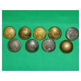 LOT OF (9) 15/16 IN PRR BUTTONS
