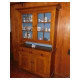 EARLY PINE STEP BACK CUPBOARD- (2) PIECE