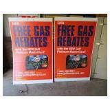 PAIR OF GAS REBATES SIGNS