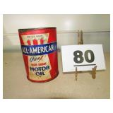 ALL AMERICAN MOTOR OIL CAN OPENED
