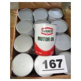CASE OF TEXACO MOTOR OIL CANS
