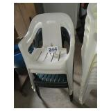 3 PLASTIC STACKING CHAIRS