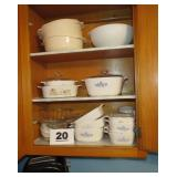 3 SHELVES OF CORNING CASSEROLES AND LIDS