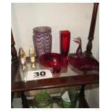 RED GLASS; MURANO GLASS BIRD; VASE; S&P  SHAKERS