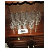 LOT OF FROSTED LIBBY GLASSES, SILVER LEAF