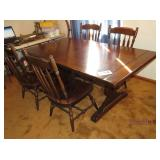 ETHAN ALLEN DINING TABLE, 4 CHAIRS, 2 LEAVES,