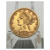 1892CC CARSON CITY $5 GOLD PIECE