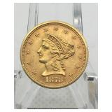 1878 S QUARTER EAGLE ($2.50) GOLD COIN