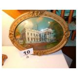 CONVEX GLASS REVERSED WHITEHOUSE PAINTING