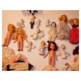 LOT OF DOLLS, PARTS & CLOTHES