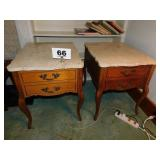 PAIR MARBLE TOP END STANDS