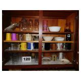 KITCHEN CUPBOARD LOT -GLASSES & MORE