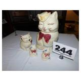 CAT COOKIE JAR, CREAMER & S&P
