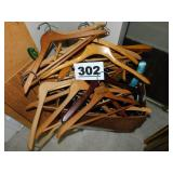 LOT OF WOODEN HANGERS