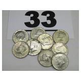 9  SILVER-CLAD KENNEDY HALF DOLLARS