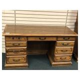 "Oak Knee Hole Desk, 56""w x 26""d x 30""h"