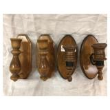 2 Sets of Wooden Wall Candle Holders