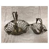 2 Metal Baskets with grape & leaf pattern