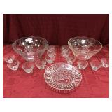 2 Grape Pattern Glass Punch Bowls, 1 Underplate,