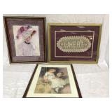 3 Framed Decorator Items - 2 prints / 1 crochet