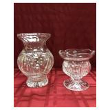 "2 Lead Crystal Vases, 8"", 5.5"""