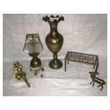 5 Brass Items - Lamp, Vase, Stand, Wall Sconce,