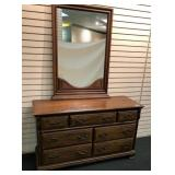 "Maple Dresser, 7 Drawers, 54""w x 19.25""d x 32"""