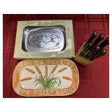 3 Items - Aluminum Bread of Life Platter with