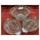 "3 Pattern Glass Items - Bowl (5""h x 9.5""d),"