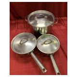 3 Piece Ekco Eterna Stainless Cookware with Lids,