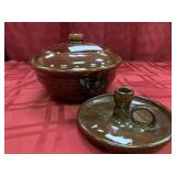 2 Items - Stoneware Bean Pot and Pottery Candle