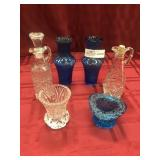 5 unmatched pattern glass and 1 crystal vase