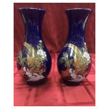 Pair of cobalt vases with Asian influence