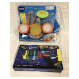2 items - VTech KidiBeats Drum Set (box beat up)