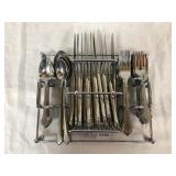 Set of Stainless Flatware in Caddy -