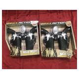Set of wild west outlaw play set two guns with